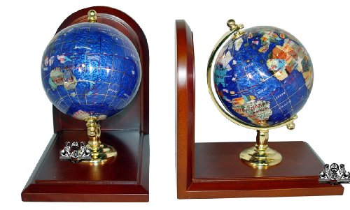 Unique Art 7-Inch Tall Pair of Bahama Blue Swirl Pearl Ocean Gemstone World Globe - Brass Gemstone Globe