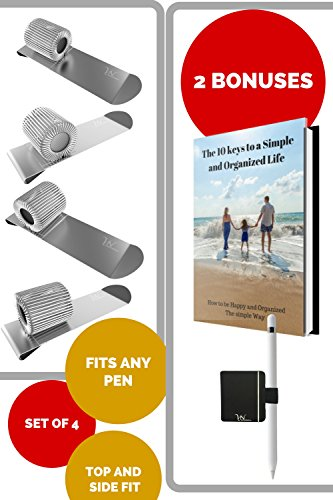 Pen Loop Holder Clips - 2 Top & 2 Side Fit - Great for Clipboard, Planner, Calendar, Sketchbooks & Journals like Leuchtturm, Rhodia, Levenger Bonus: Pen Holder Clip & Ebook Fit Any Size Pen by VerneNation