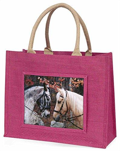 Advanta Pferde in Love Animal Große Einkaufstasche/Weihnachtsgeschenk, Jute, pink, 42x 34,5x 2cm