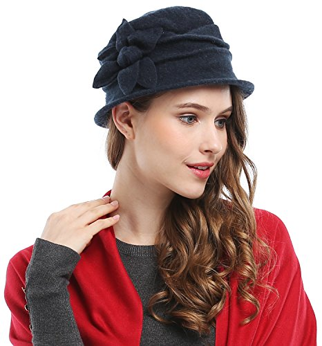 Bienvenu Women's Classic Flower 100% Wool Cloche Bucket Hat,Navy (Decorated Bucket)