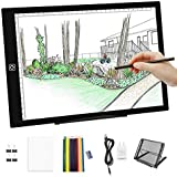 A4 LED Light Box-Dimmable Artcraft Tracing Light Pad Board Tablet w Light Box Pad Stand,12pcs Colored Pencils and Adapter for Artists Drawing,Diamond Painting,Sketching,Animation