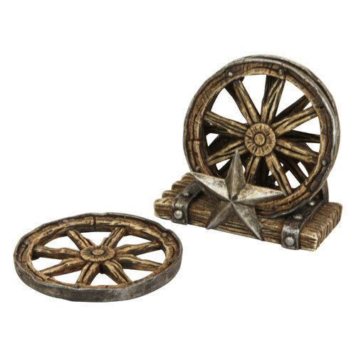 Western Wagon (Western Wagon Wheel Coaster Set with Metal Star/Wagon Wheel Base)