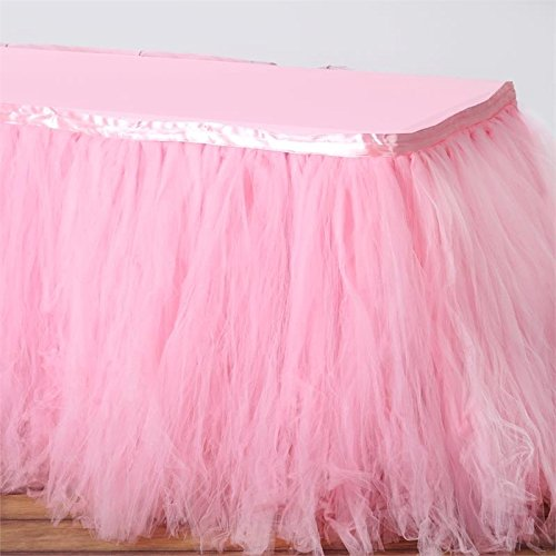 BalsaCircle 17 feet x 29-Inch Pink Tutu Multi Layers Tulle Table Skirt Linens Wedding Party Events Decorations Kitchen Dining ()