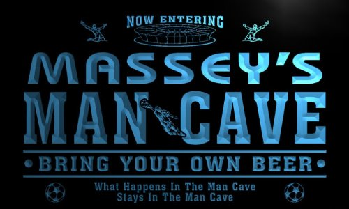 qd1469-b MASSEY's Man Cave Soccer Football Neon Beer Sign by AdvPro Name