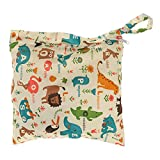 Baby Waterproof Zipper Bag Washable Reusable Baby Cloth Diaper Bag (Animals and Flowers Pattern Beige)