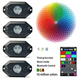 KAIL 9W 4 Pods Multicolor Neon LED Light Kit RGB LED Rock Lights with Bluetooth Controller Timing Function Music Mode