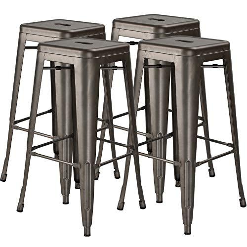 30 in High Metal Stool Backless Industrial Bar Stools, Indoor-Outdoor, Stackable, Set of 4, Gun Metal