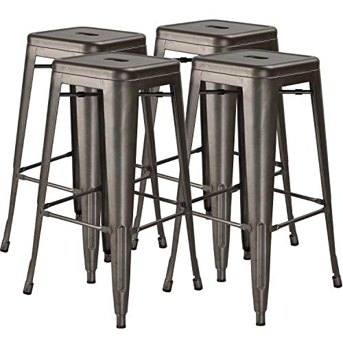 30 in High Metal Stool Backless Industrial Bar Stools, Indoor-Outdoor, Stackable, Set of 4, Gun Metal