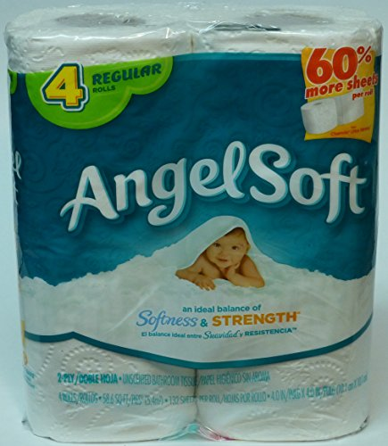 Angel Soft Bathroom Tissue, Unscented, Regular Rolls, 4 Count