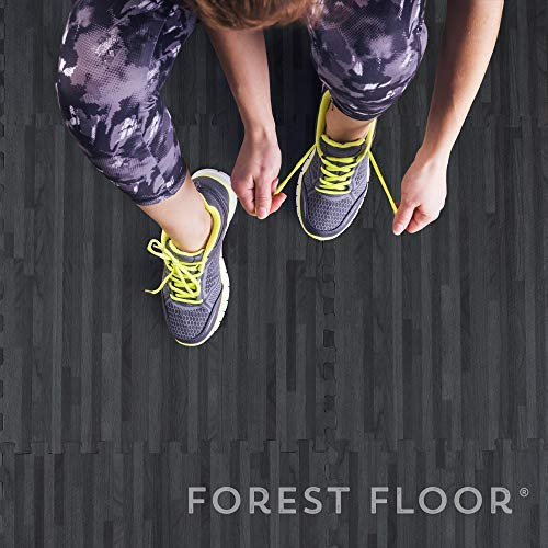 Forest Floor 3/8'' Thick Printed Wood Grain Interlocking Foam Floor Mats (Carbon, 16 Sq Ft (4 Tiles)) by Forest Floor (Image #4)