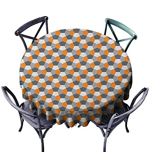 G Idle Sky Abstract Washable Table Cloth Modern Style Origami Inspired Mosaic Tile with Hexagonal Shapes Indoor Outdoor Camping Picnic D43 Grey Charcoal Grey Orange