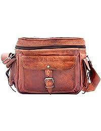 """Crafat 100% Pure Leather 12"""" Unisex Travel Brown Shoulder Sling Camera bag"""
