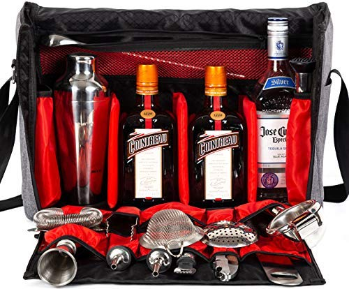 Waterproof Bartender Travel Bag-16 Inch Bar Tools/Wine Carrier Set Bag for Travelling Camping-Grey