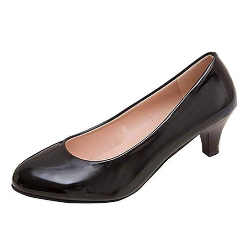 7132c6e9ec Huatime Mid Heel Court Shoes Women - Womens Patent Leather Kitten Heel  Round Toe Court Shoes