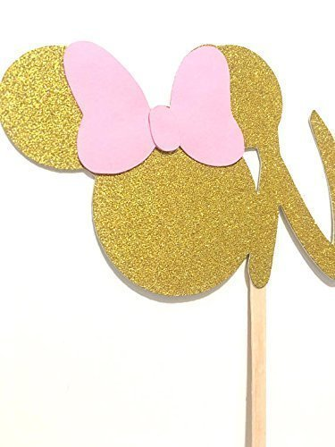 Awe Inspiring 1 Pc One Minnie Mouse Head Pink Gold Glitter Cake Topper For Funny Birthday Cards Online Necthendildamsfinfo
