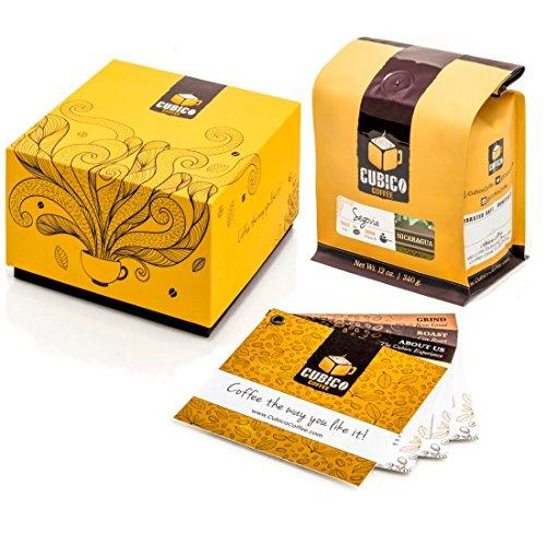 Nicaragua Coffee - Whole Bean Coffee - Freshly Roasted Coffee - Cubico Coffee - 12 Ounce (Single Origen Segovia Nicaraguan Coffee) - Gift Box