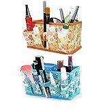 Bestga 2 PCS Makeup Cosmetic Box Bag Non-woven Fabrics Bright Organiser Multifunction Foldable Square Makeup Stationary Storage Container Case - Orange/Blue