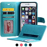 SHANSHUI iPhone 6s Plus Leather Folio Case, PU Leather Credit Card Holder Kickstand Function Protection Bumper Wallet Case for iPhone 6/6s Plus 5.5 inches (Blue)