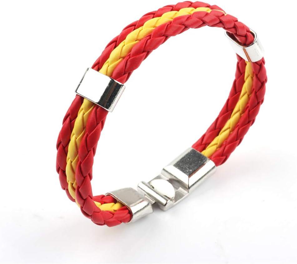 Distinct® Especial Joyería personalizada Brazalete trenzado de cuero Banderas Nacionales Brazaletes (España): Amazon.es: Hogar