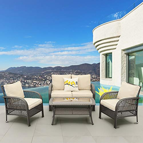 Solaste 4PCS Patio Furniture Set – All-Weather Wicker Conversation Set Outdoor Sofa Seating with Glass Table (Beige Cushion)