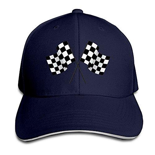 b907cd59aef6 Checkered Flags Race Car Flag Pole Adjustable Sandwich Peaked Baseball Hats