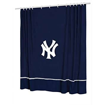 MLB New York Yankees Baseball Bathroom Accent Shower Curtain Curtains