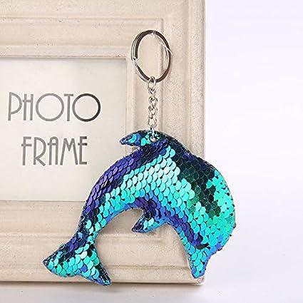 Amazon.com: Rarido Cute Dolphin Keychain Glitter Pompom ...