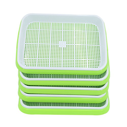 Yamix Seed Sprouter Tray, 5 Set Two-Tiered Seed Sprouter Tray Kitchen Crop Sprouter Plant Germination Tray Hydroponics Basket (Green + White) by Yamix