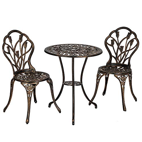 Peterzon 3PC Cast Aluminum Patio Furniture Tulip Design Bistro Set Antique Copper Flower Pattern Finish Outdoor Garden Iron Frame Bronze Chairs Vintage Dining Ice Cream Cafe Metal ()