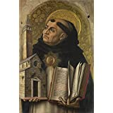 high quality polyster Canvas ,the Replica Art DecorativeCanvas Prints of oil painting 'Carlo Crivelli Saint Thomas Aquinas ', 24 x 36 inch / 61 x 93 cm is best for Basement decoration and Home decoration and Gifts