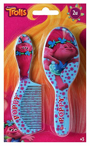 Trolls Hair Accessories,Hair Brush With 4Head clips Official Licensed - By Delivery Special 1pm