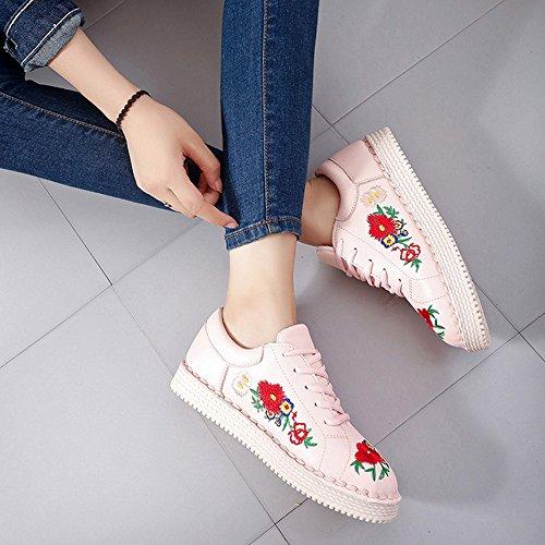 Zapatos Plano Plataforma con Cordones para Mujer Cuña Zapatillas de Deporte 3cm Negro Blanco Rosado 35-40 Rosado-NOTA: los zapatos pueden ser un poco estrechos, tenía mejor para elegir un tamaño más grande.