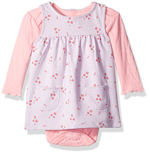 Bon Bebe Baby Girls' 2 Piece French Terry Jumper Set with Longsleeve Bodysuit