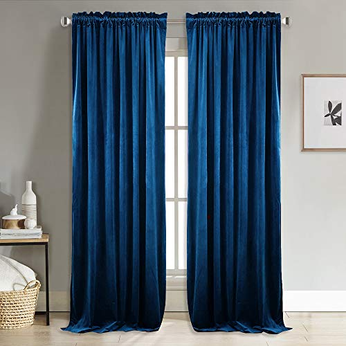 Blackout Velvet Curtains -Soft and Elegant Heavy Matt Solid Drapes/Panels for Living Room (2 Pieces, 96 inch Length) ()