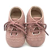 Dukars Baby Boys Girls Soft Sole Moccasins Lace-up Infant Toddler Shoes Sneaker (Pink,2)