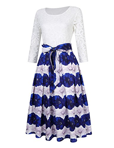 Color Dress Women Modest Floral Evening Cocktail Solid Casual Print GlorySunshine One vax5w8a