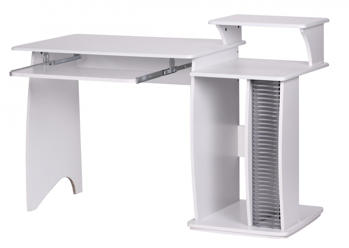 FineBuy RIO Schreibtisch 130cm breit mit CD Fach Ablage Aufsatz Tastaturauszug 55cm tief Computertisch platzsparend Holz ideal für Jugendzimmer PC Tisch Kinderzimmer