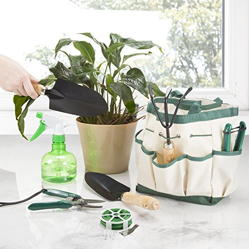 Pure Garden 75-08002 8 Piece Garden Tool and Tote Set Tool Tote Set