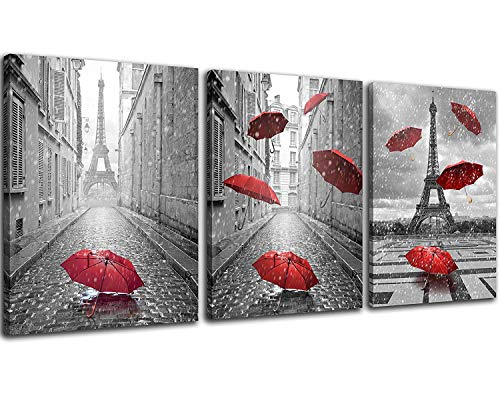 NAN Wind 3 Panels Modern Giclee Canvas Prints Paris Black and White with Eiffel Tower Red Umbrellas Flying Wall Art Landscape Wall Decor Paintings on Canvas Framed Ready to Hang for Home Decor (Black And White Posters With Red Accents)
