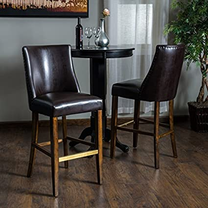 brown leather bar stools. Rydel Brown Leather Bar Stools (Set Of 2) A