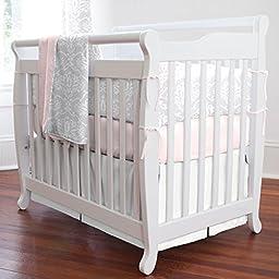 Carousel Designs Pink and Gray Damask Mini Crib Bumper