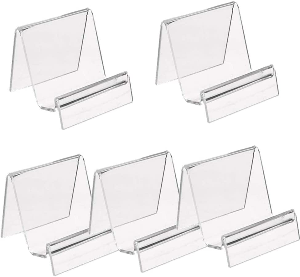 5 Pack Clear Acrylic Wallet Display Stand Retail Store Holder Shelf for Glasses,Wallet Display Office Display Risers for Phone,Greeting Cards,Business Cards,CD Organizer (Small)