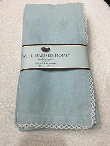 Well Dressed Home Set of 4 Pastel Blue Cloth Napkins Easter - Crocheted ()