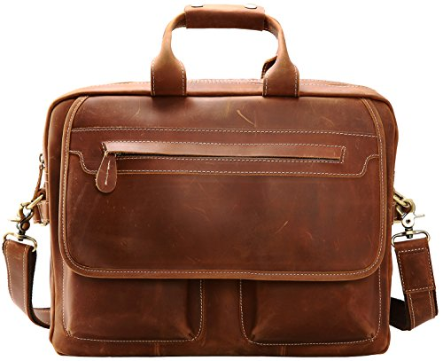 451dac8aa9b Iswee Leather Vintage Briefcase Messenger Bag for Men 14'' or 16'' or