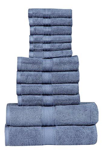 HILLFAIR 12 Piece- 600 GSM Cotton Bath Towels Set - Hotel Spa Towels Set- 2 Bath Towels, 4 Hand Towels, 6 Washcloths- Absorbent Super Soft Cotton Towels Set- Blue Towel Set- 100% Cotton Towel Set