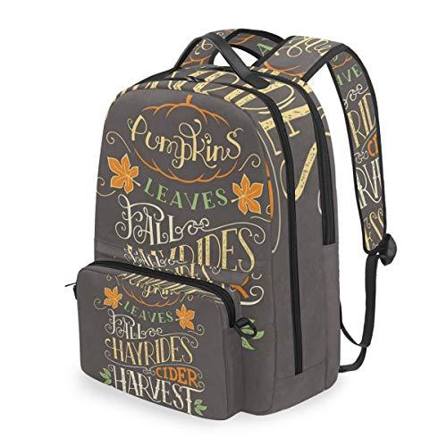 Backpack Pumpkins Leaves Fall Harvest Blessing Crossbody Bag Removable Shoulder Bag Travel Computer -