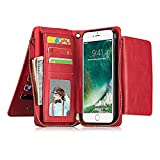 INorton iPhone X Case, Zipper Magnetic Wallet Purse Case with Card Slots and Money Pocket, Retro Vintage Stand Smart Phone Sleeve for iPhone X