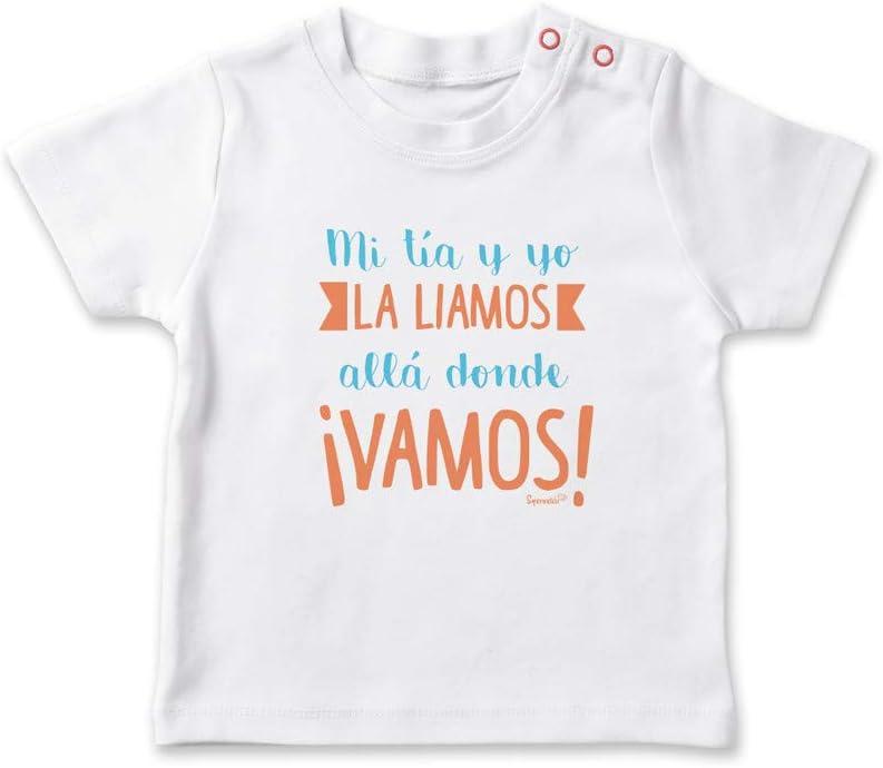SUPERMOLON Camiseta beb/é Mi t/ía y yo la liamos all/á donde vamos Blanco 0-1 a/ños