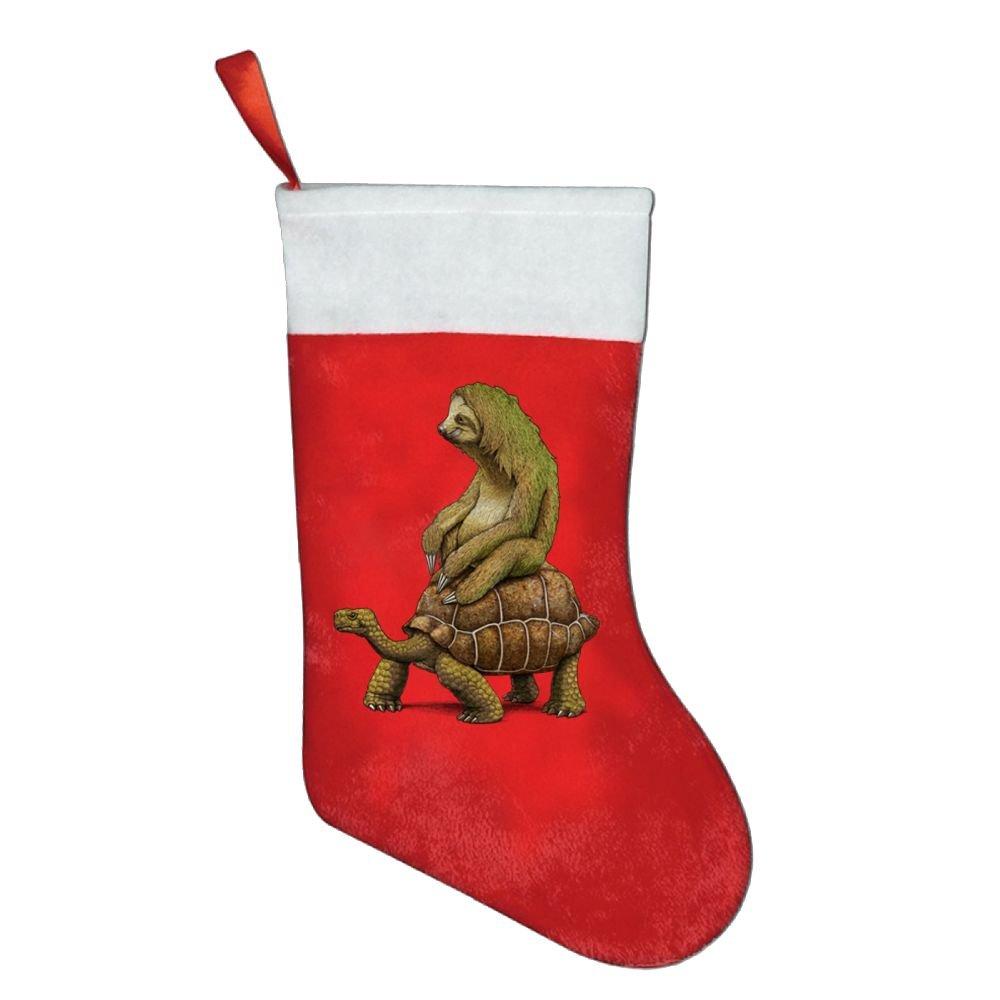 Speed Is Relative Sloth Turtle Christmas Stocking Red Xmas Socks