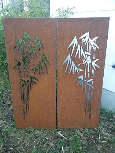 2st.symmetrisch Garten Sichtschutz aus Metall Rost Gartenzaun Gartendeko edelrost Sichtschutzwand PF0028 150502CM